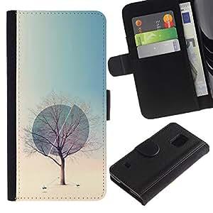 Paccase / Billetera de Cuero Caso del tirón Titular de la tarjeta Carcasa Funda para - Winter Sphere Deep Spring Nature - Samsung Galaxy S5 V SM-G900