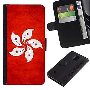 All Phone Most Case / Oferta Especial Cáscara Funda de cuero Monedero Cubierta de proteccion Caso / Wallet Case for Samsung Galaxy Note 4 IV // National Flag Nation Country Hong Kong