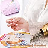 self Threading Needles, Needle Threader with Needle case Carving Pattern Golden 12 Pack