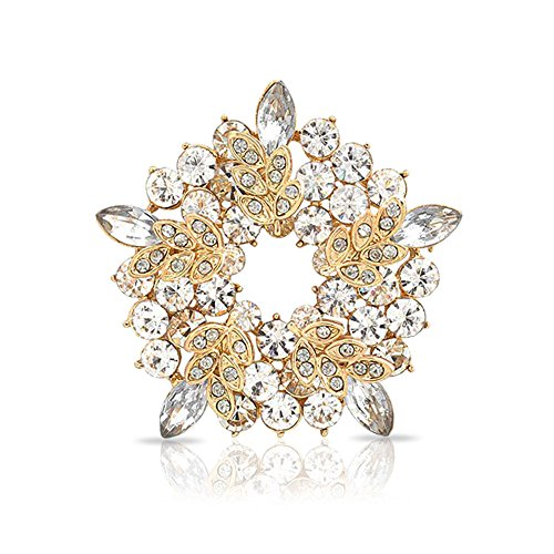 - Bling Jewelry Two Tone Golden Crystal Gold Plated Holiday Circle Wreath Brooch Pin for Women