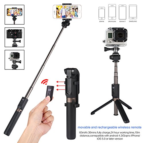 Foretoo Selfie Stick Tripod with Rechargable Remote for iPhone x 8 Plus 7 Android Samsung s8 s7 Plus Edge 4 in 1 Mini Pocket Extendable Monopod Aluminum