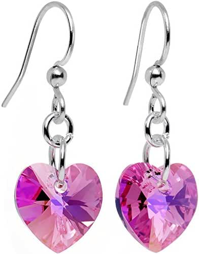 Body Candy Handcrafted Silver Plated Pink Heart Earrings Created with Swarovski Crystals