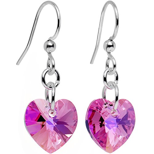 Body Candy Handcrafted Silver Plated Pink Heart Earrings Created with Swarovski Crystals (Plated Pink Heart)