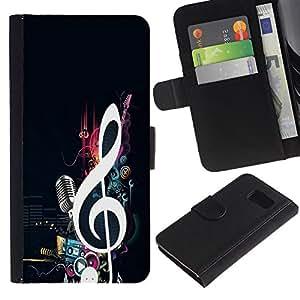 Paccase / Billetera de Cuero Caso del tirón Titular de la tarjeta Carcasa Funda para - Music Note Microphone Beat Bass Love - Samsung Galaxy S6 SM-G920