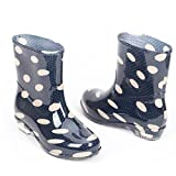COVOYYAR Women's Cute Dot Short Ankle Rain Boots Rubber Shoes (8.5, Blue)