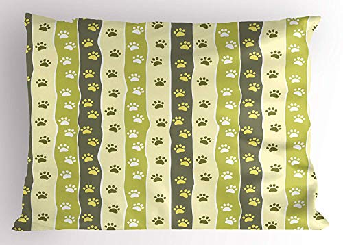 Ustcyla Animal Pillow Sham, Cat Dog Paw Traces on Wavy Striped Pattern in Green Tones Cute Wildlife Illustration, Decorative Standard Queen Size Printed Pillowcase, 30 X 20 inches, Multicolor