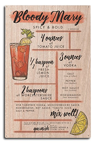 Lantern Press Bloody Mary - Cocktail Recipe (10x15 Wood Wall Sign, Wall Decor Ready to Hang) ()