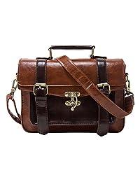ECOSUSI Fashion Girl's Faux Leather Satchel Purse Small School Messenger Bag Work Cross-body Bag (Brown)