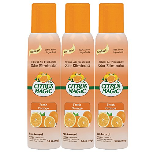 Citrus Magic 3-Pack Natural Odor Eliminating Air Freshener Spray, Fresh Orange, 3-Ounce (Room Magic Natural)