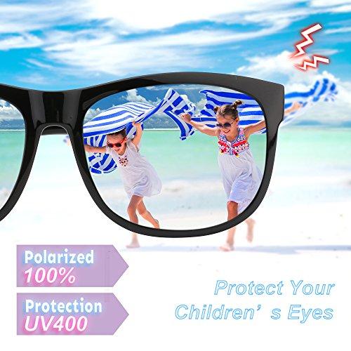 RIVBOS RBK023 Rubber Flexible Kids Polarized Sunglasses Glasses Age 3-10 (Black Coating Lens)