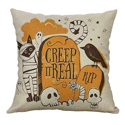 Winsummer Set of 4 Fall Throw Pillow Covers Autumn Thanksgiving Halloween Decorative Throw Pillow Case Happy Fall Yall Pumpkin Cushion Cover Farmhouse Decorations 18 x 18 Inch (Furniture Donate Patio)