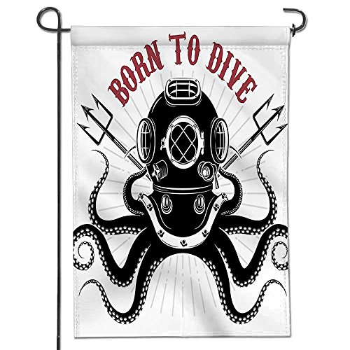 VROSELV Glory Garden Flag,Octopus an Octopus with Two Tridents and Diver Helmet Pattern Born to Dive Print Black and White Holiday Decoration Double Sided Flag 12