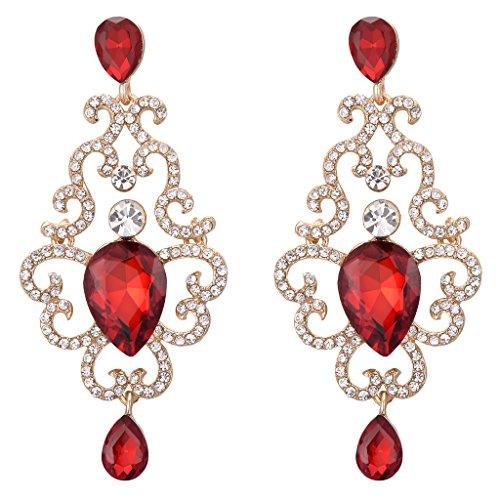 BriLove Women's Victorian Style Crystal Floral Wave Hollow Teardrop Chandelier Dangle Earrings Ruby Color (Victorian Style Earrings)