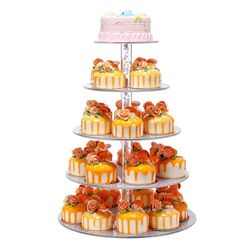 Perchant 5 Tier Elegant Sliver Round Wedding Party Tree Tower Acrylic Cupcake Display Stand by Perchant
