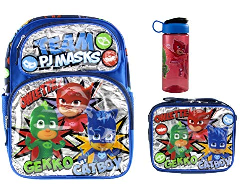 PJ Masks Deluxe 3D Backpack & Matching Insulated Lunch Box PLUS 16.5oz Drink -