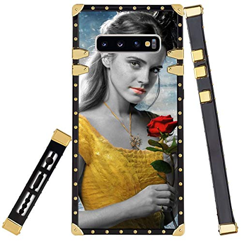 "DISNEY COLLECTION Square Corner Cell Phone Case Compatible with Samsung Galaxy S10+ [6.4""] Beast Beauty Black and White Cute Emma Watson Film Movie Red Rose Yellow Dress The"
