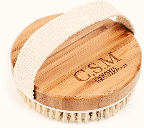 Dry / Wet Body Brush by C.S.M - Clear Dead Skin Cells While Reducing Cellulite and Toxins - Natural Bristles for Better Exfoliation