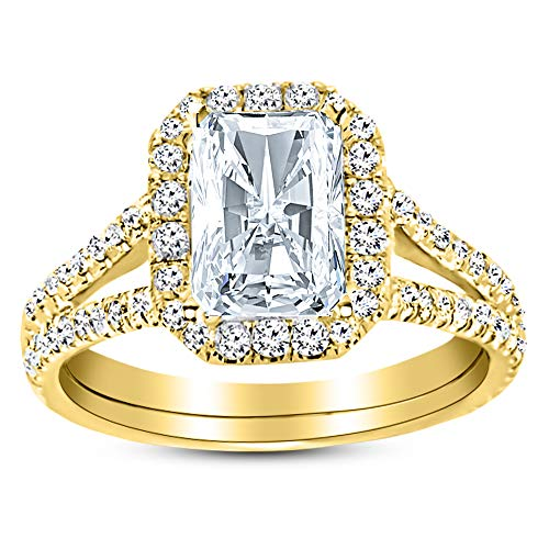 1.02 Carat GIA Certified 14K Yellow Gold Split Shank Radiant Cut Diamond Engagement Ring (0.52 Ct D Color VVS2 Clarity Center) ()