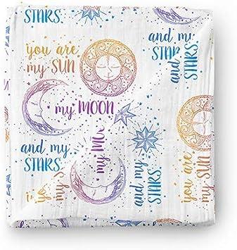Manta de muselina para bebé Aenne Baby, Arco iris sol luna estrellas morado, Grande 120 x 120 cm, 1 pack, algodón de bambú sedoso lujoso y suave, regalo para bebé recién nacida