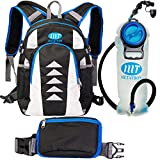 Hydration Backpack with 2 Liters / 0.5 Gallons Leakproof Water Bladder for Cycling, Hiking, Running, Skiing by METATRON | Water Day Pack for Men and Women | Detachable Pocket included