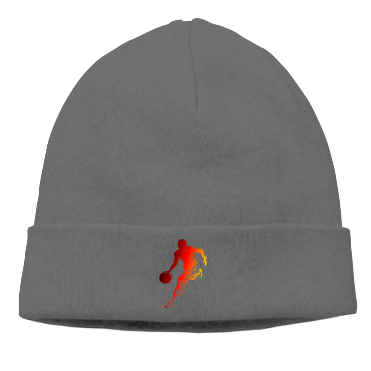 Boy Playing Ball Knit Caps Beanie Hat Skull for Mens Deep Heather