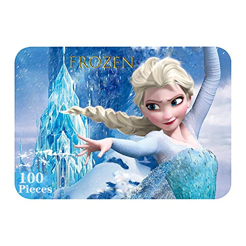 NEILDEN Disney Frozen Puzzles in a Metal Box 100 Piece Jigsaw Puzzle for Kids Ages 4-8 Puzzles for Girls and Boys for Children Learning Educational Puzzles (Elsa)