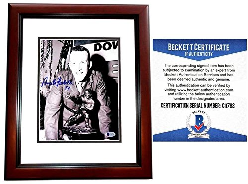 Signed Bertelli Picture - 8x10 inch MAHOGANY CUSTOM FRAME Beckett BAS Certificate of Authenticity COA Not JSA 1943 Heisman Trophy Deceased 1999 - PSA/DNA ()