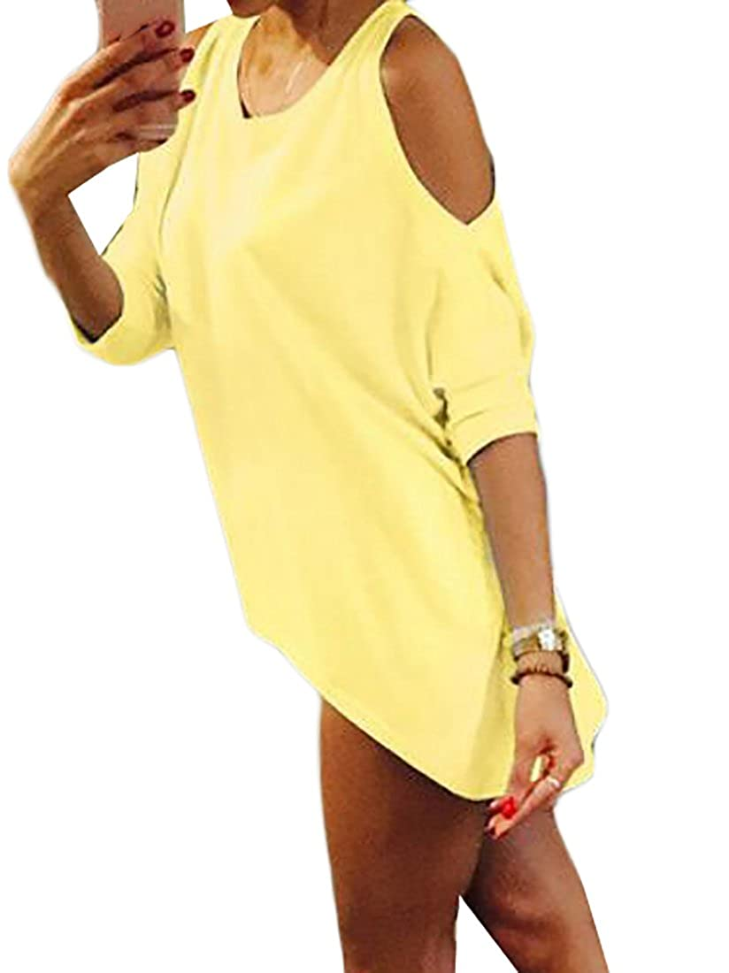 727022f939a7 XINHE Women Solid Plus Size Multicolor Short Sleeve Off Shoulder T-Shirt  Dress Yellow 4XL at Amazon Women s Clothing store