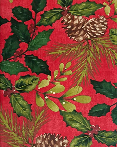 Newbridge Very Berry Christmas Print Vinyl Flannel Backed Tablecloth, Holly Bough and Ivy Design Xmas Tablecloth, 60 Inch x 102 Inch Oblong/Rectangle, Red