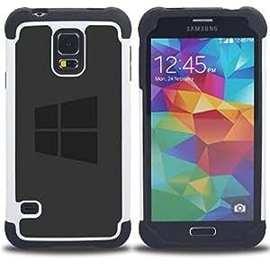 """SAMSUNG Galaxy S5 V / i9600 / SM-G900 - 3 en 1 impreso colorido de Altas Prestaciones PC Funda chaqueta Negro cubierta gel silicona suave (Gray Win Logo"""")"""