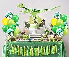 Decoraciones de la fiesta de cumpleaños de dinosaurios verde ...
