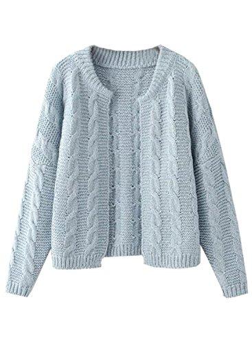 Futurino Damen Winter/Herbst Offener Langarm Warme Knitwear Cardigan Mantel Pullover one size light blue
