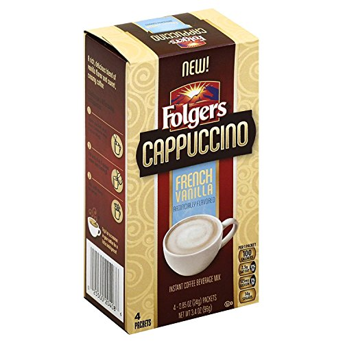 Creamers Powder Flavored (Folgers Cappuccino 2 Box Single Serve Packets, French Vanilla, 4 Count, Great for Traveling!)