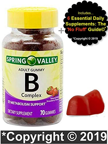 Vitamin B Complex Gummies for Adults with Vitamin B6, B12, C, Biotin, Niacin, Folic Acid, Vegan – Vegetarian – Energy, Spring Valley Bundle w/ 'No Fluff' Guide©