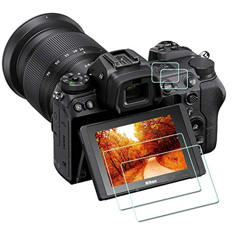 Z7 Z6 top + screen protector [2 + 2 pack], compatible with the ZLMC of Nikon Z7 Z 7II Z6 Z 6II FX digital SLR cameras. The ultra-high-definition tempered glass screen protector has the functions of scratch-proof, anti-air bubble, waterproof and anti-fingerprint.