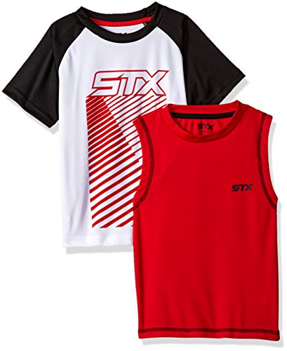 Iconic Muscle Tee - STX Big Boys Muscle Tank and T-Shirt Set, Black/Red-SH55, 10/12