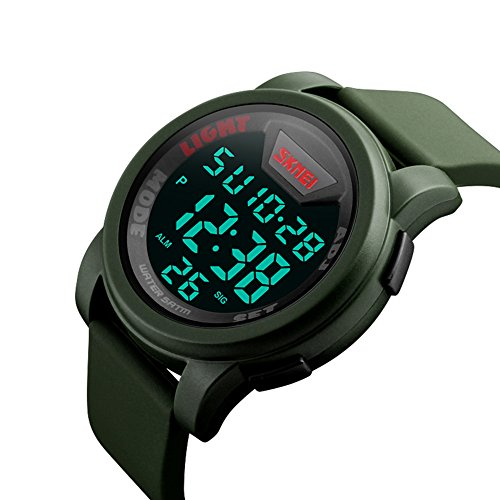 Waterproof Digital LED Multi-function Military Sports Watch Green - 3