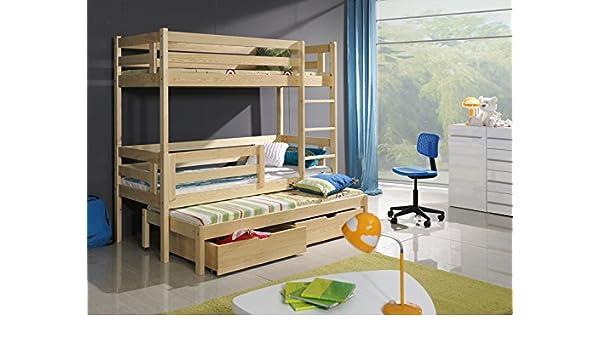 BERT 91,44 cm niños de madera TRIPLE literas con colchones y sus posibilidades de almacenamiento cajones/blanco, Madera de pino, azul, rosa diseño con texto ...