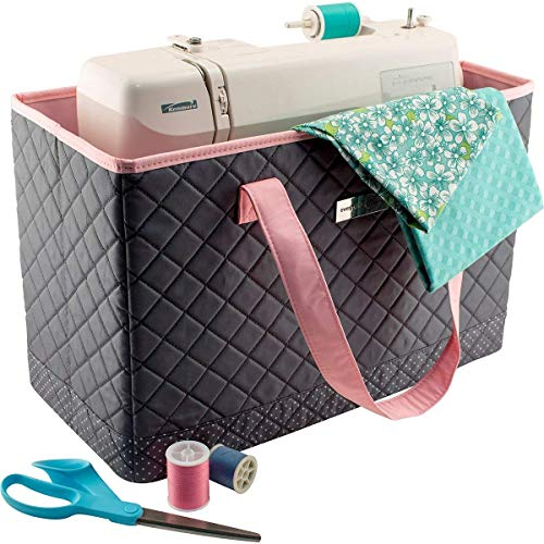 Everything Mary Deluxe Quilted Pink & Grey Sewing Machine Carrying Case - Sewing Machine Cover Case Tote Bag for Brother, Singer, Standard Size Machines - Sewing Bag with Handles for Travel
