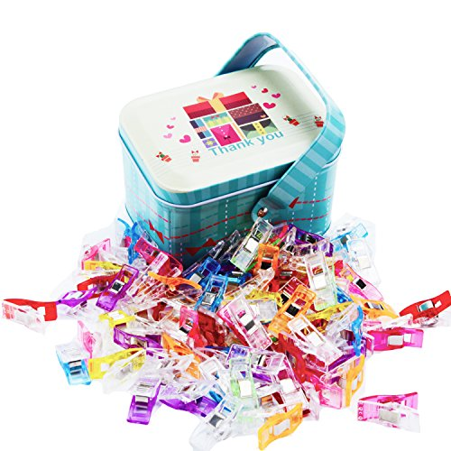 100 Pack Multipurpose Sewing Clips for Quilting, Crocheting,Crafting and Knitting Safety Clips with BONUS Tin Box