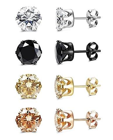 ORAZIO 4 Pairs Stainless Steel Women Stud Earrings Mens Ear Piercing Cubic Zirconia Earrings 4mm - Ear Piercing Stud