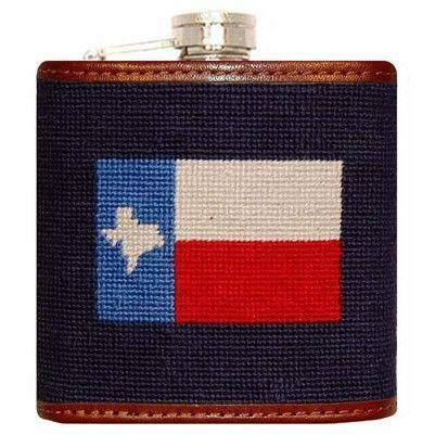 Texas Flag Needlepoint Flask in Navy by Smathers & Branson