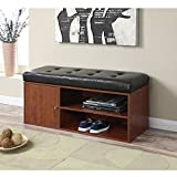 Storage Bench in Black and Cherry Finish Faux Leather Cushion Cabinet for Concealed Storage