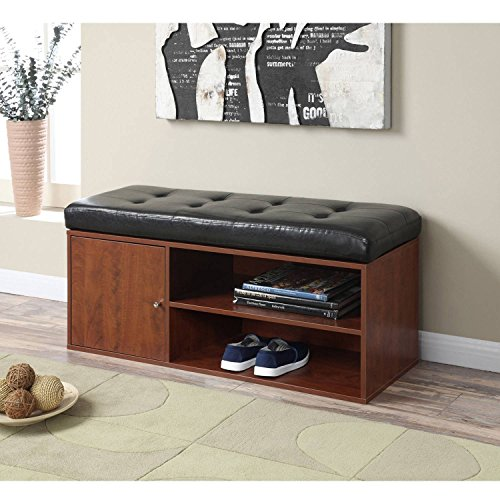 Storage Bench in Black and Cherry Finish Faux Leather Cushion Cabinet for Concealed Storage by AVA Furniture