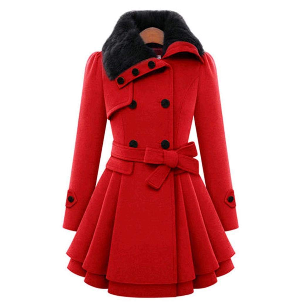 kigin Women Casual A-line Pleated Double Layers Hem Coat Outwear Wool & Blends