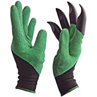 FreshDcart Heavy Duty Garden Farming Gloves Washable with Right Hand Fingertips ABS Claws for Pruning, Digging & Planting, Gardening Tool for Home Pots (One Pair)