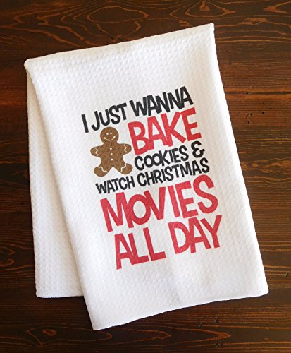 Christmas Kitchen Dishtowel - Bake Cookies and Watch Christmas Movies