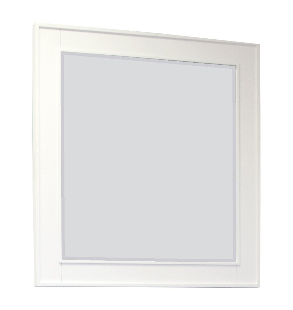 32-in. W x 34-in. H Transitional Birch Wood-Veneer Wood Mirror In White IMG Imports Inc. AI-14-653