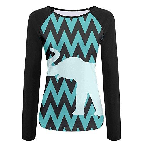 Women's Cutr Elephant Crew Neck Baseball Tee Long Sleeves Raglan Tee Shirt Sports Uniforms Slim - Wardrobe Kurt Cobain