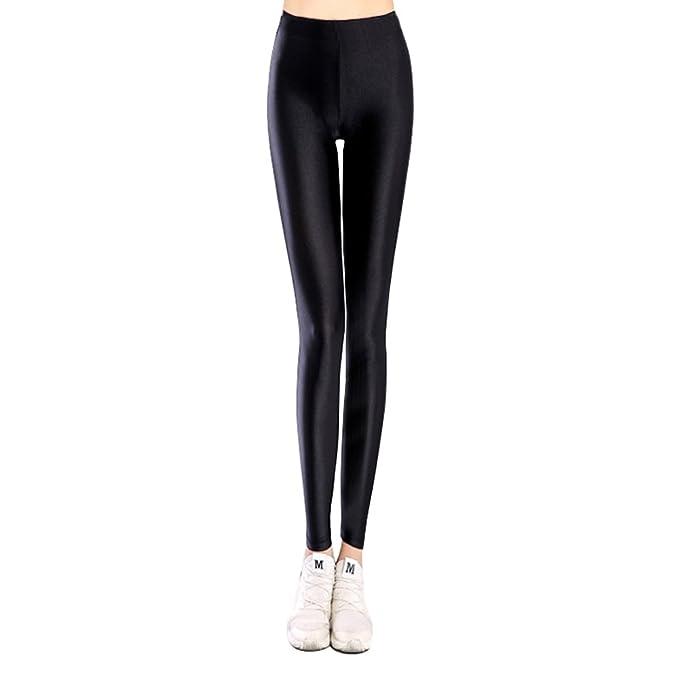 U-chen Damen Schlank Brilliant Stretch Leggings Strumpfhosen Pants Hose  Schwarz S M df61b649ab